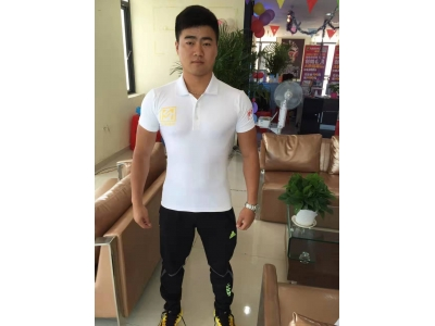 Sportswear white Lapel short sleeve knitting tight four side elastic sports T-shirt