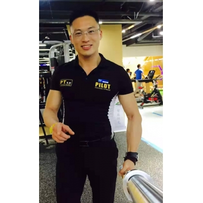 Sports T-shirt, black sports fitness trainer's round Polo short sleeve fit sports T-shirt